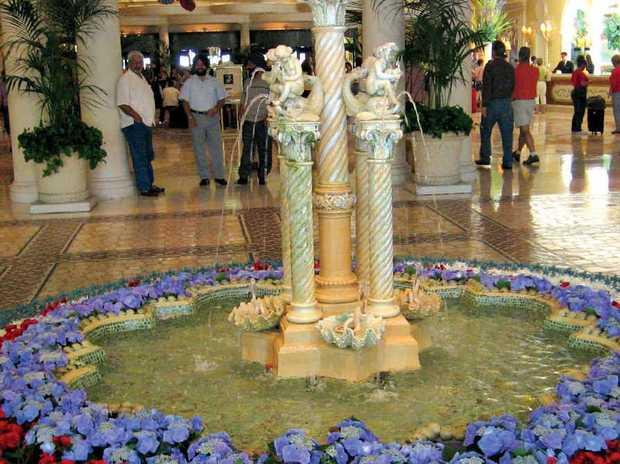 Hotel lobbies display beautiful floral arrangements in Vegas.