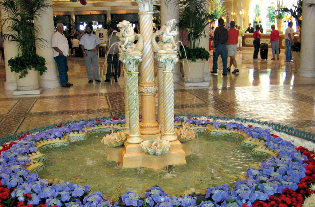Hotel lobbies display beautiful floral arrangements in Vegas.