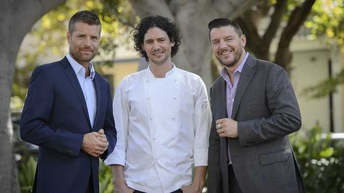 From left, My Kitchen Rules judges Pete Evans, Colin Fassnidge and Manu Feildel.