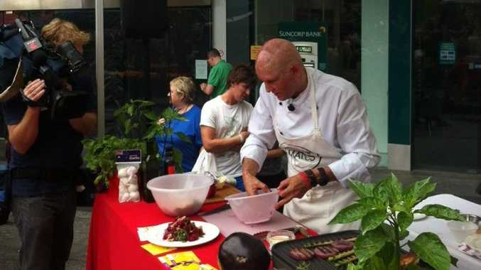 Noosa chef Matt Golinksi had his first public cooking demo at Jan Powers Farmers Market in Brisbane Square, since tragically losing his family in a fire on Boxing Day 2011.
