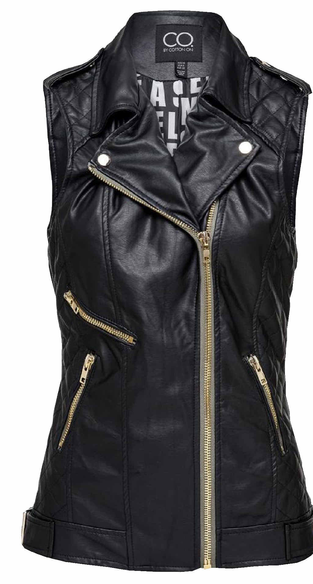 Biker faux leather vest, $49.95, Cotton On, Lismore and Ballina (check for availability) and cottonon.com.au