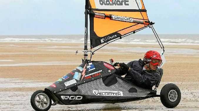 Mackay's Barak Dekel looks to make his next move on Farnborough Beach at the Australian Blokart Titles.