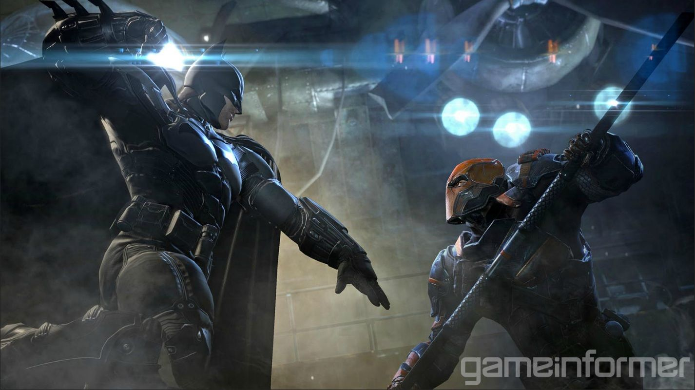 The Dark Knight taking on assassin Deathstroke in a screenshot from upcoming Batman: Arkham Origins.