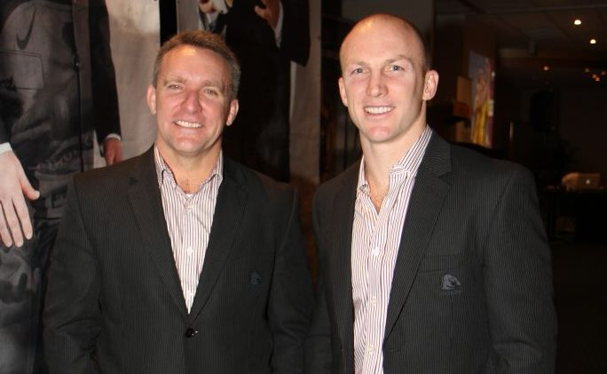 Broncos CEO Paul White and legend, Darren Lockyer at the Andergrove Tavern for the Broncos Regional Dinner. Photo: Lauren Reed / Daily Mercury