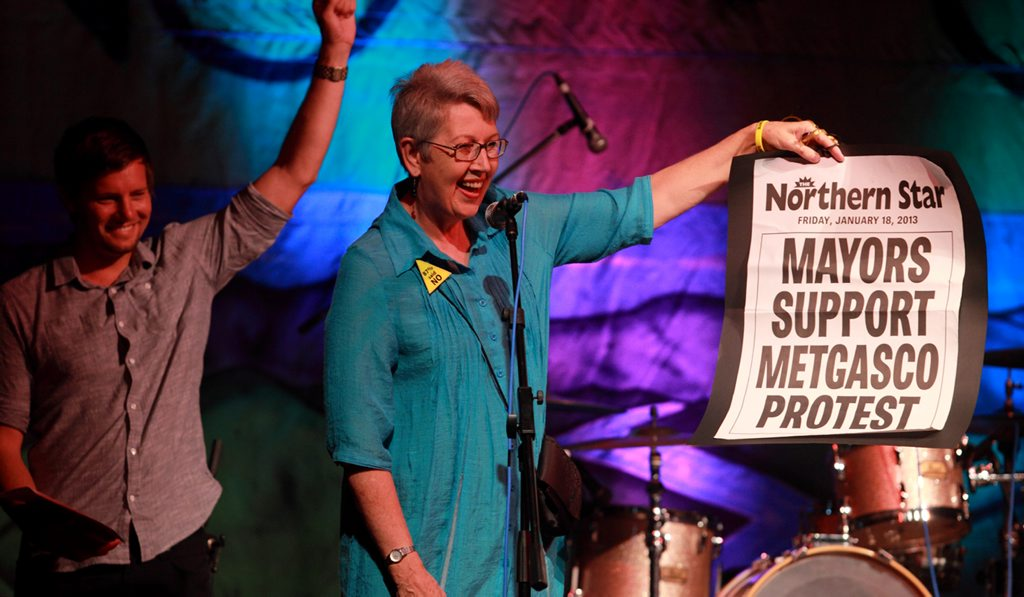 Lismore Mayor Jenny Dowell at the No Gas Rig Gig in 2013.