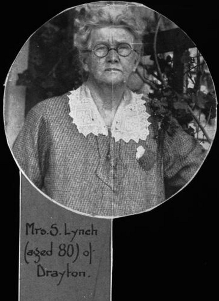 The members of the Lynch family lived at the Royal Bulls Head Inn for over 100 years. Mrs S Lynch was photographed as an 80 year old in 1932. Credit: John Oxley Library, State Library of Queensland.
