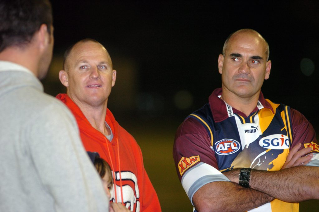 FLASHBACK: Kerrod Walter and Dale Shearer having a chat at a Sunshine Coast Falcons training session in 2006.