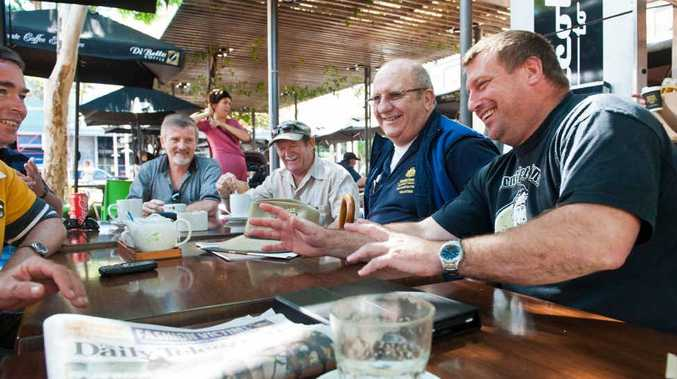 CASUAL MEETING: Ex-servicemen (from left) Shannen Mitchell, Col Gill, David Francis and Scott Seccombe.