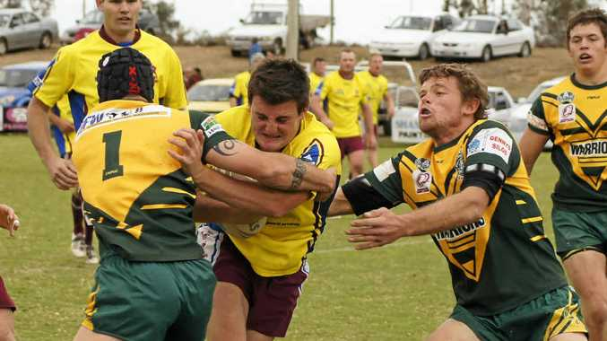 READY AGAIN: Dalby on charge during a previous home match against the Wattles Warriors. They'll meet again tomorrow.