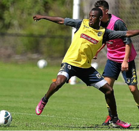Bernie Ibini works on his ball control at training.
