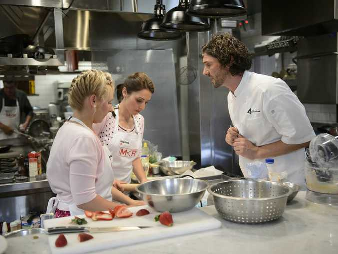 Jenna and Joanna under pressure from chef Colin Fassnidge.