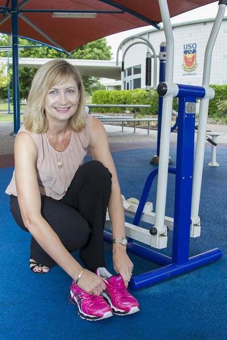 USQ Fraser Coast's Michelle Hay prepares for a workout in the university's outdoor gym.