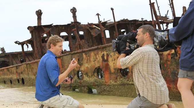Television's Bondi Vet Dr Chris Brown filming for Channel Ten's The Living Room on Fraser Island.