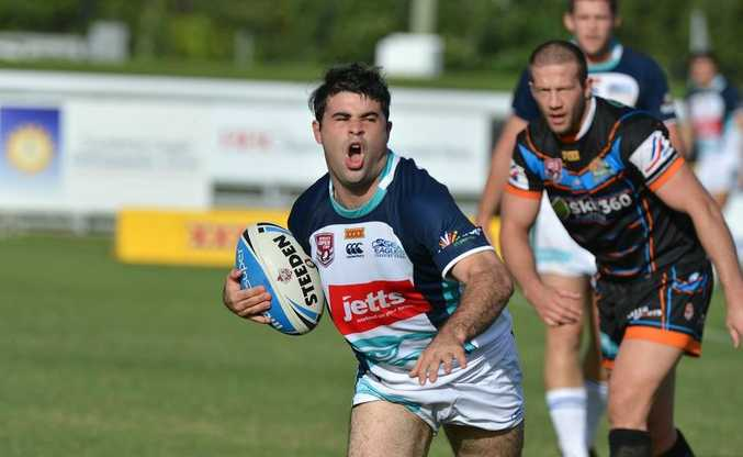 Sea Eagles Jordan Meads tries to break from a tackle against Northern Pride.