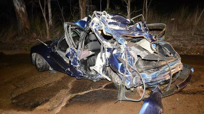 The wreck of the Holden Commodore that was wiped out by a freight train on Saturday night.