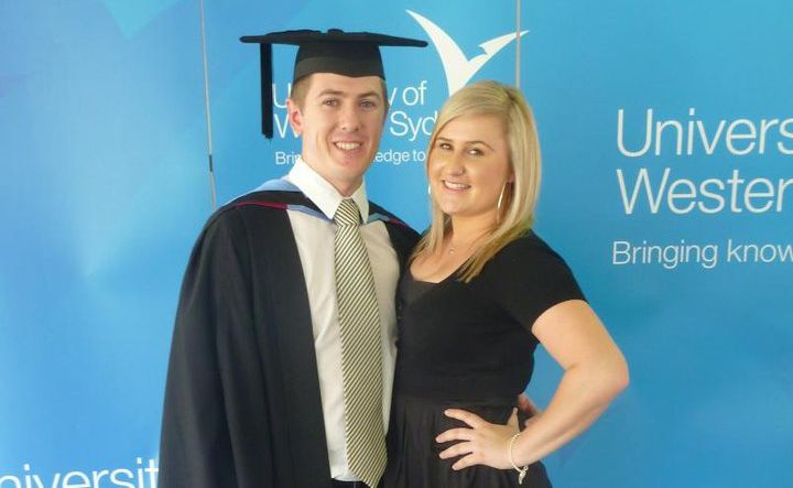 Matthew and Samantha at his university graduation ceremony last year.