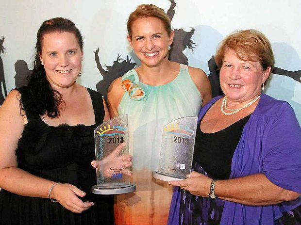 BORN LEADER: Rachael Muller with her mum Joy and swimmer Libby Trickett.