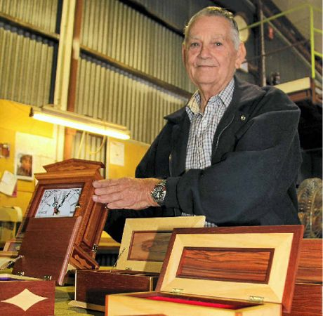John Madsen from the Warwick Woodcrafters with some of his jewellery boxes and a clock he built.