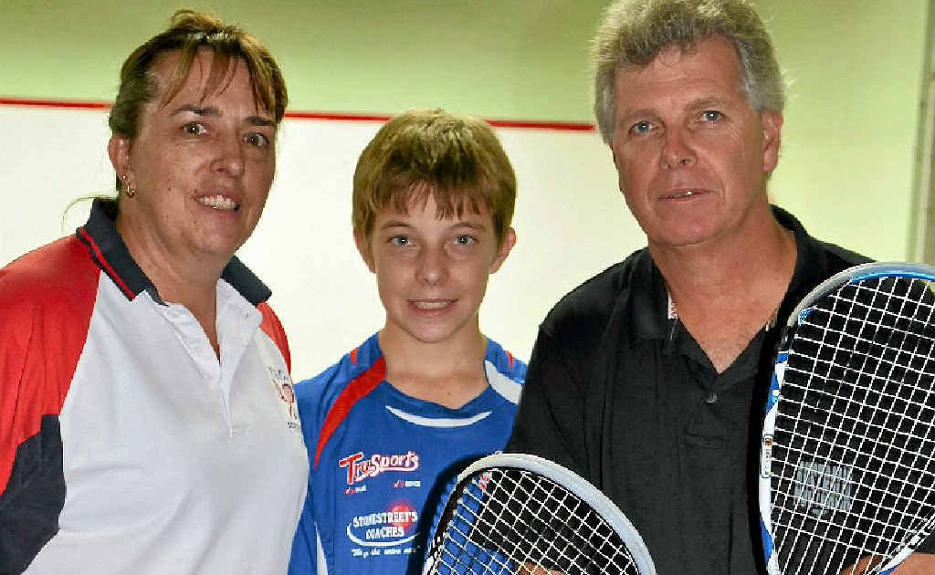 Michelle, Jason and Stuart Anderson at St Mary's at Warwick Rose Squash Club fixtures.