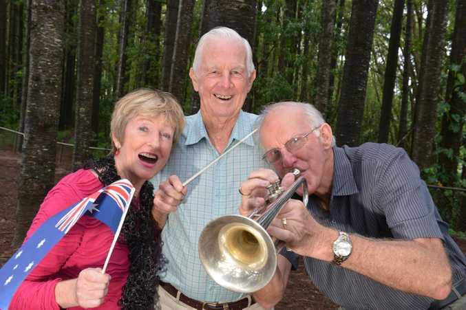 Aart Schouten, Ken Chadwick and Bev Gourlay will perform at Buderim on Anzac day. Photo: John McCutcheon / Sunshine Coast Daily.