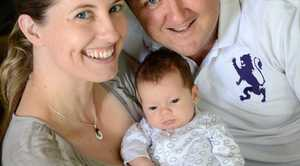 Katie and Steve Burnett with their 8 week old baby Josie. The couple had birthing photos taken. Photo: Sarah Harvey / The Queensland Times