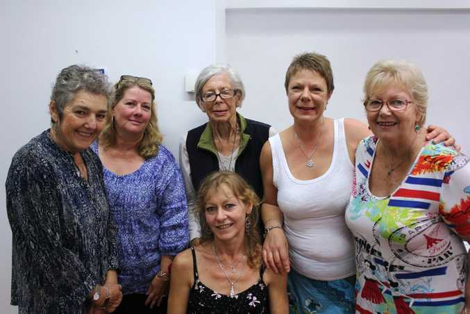 Marie Flaherty, Helen La Grange, Claire Daniell, Trudi Bareham, and Lynette McKenna with Allison Jung (centre), support each other at monthly meetings. Photo Emily Haynes / Buderim Chronicle