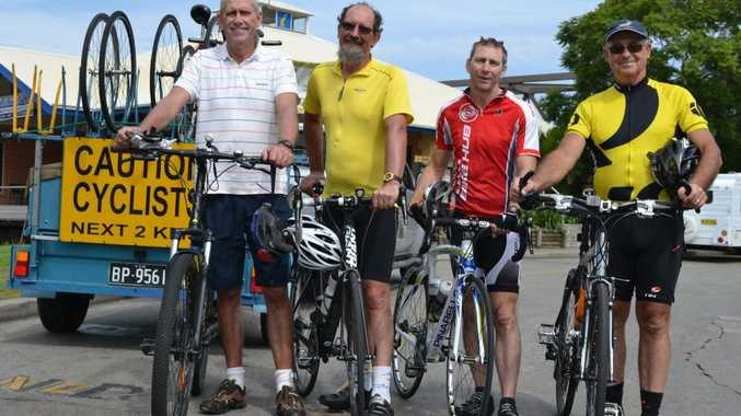 The Smashing Cycle of Poverty team of cyclists are, from left: Dave Mansfield, Dave Langley, Ron Balderston and Pat Kennedy. Photo Tim Howard / The Daily Examiner