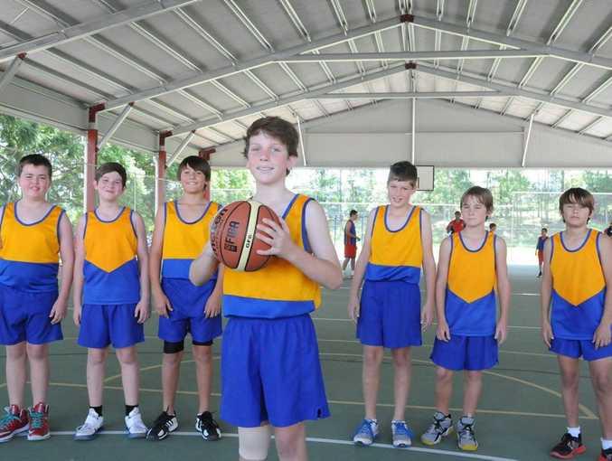 Wide Bay Primary School Basketball Trials. Gympie Zone Boys. Jalen Kirwan, Jai Gleeson, Cameron Hanson, Nick Bembrick, Nick Towner, Conor Dougherty and front Chris Venn.