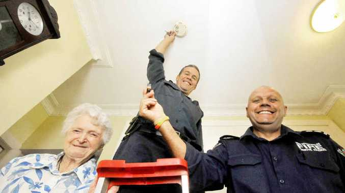 FIRE SAFE: Jean McGrath, Dave Valentine and Station Officer Nat La Macchia.
