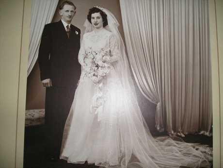 Joyce and Westley Herrmann on their wedding day on 3 November 1951.