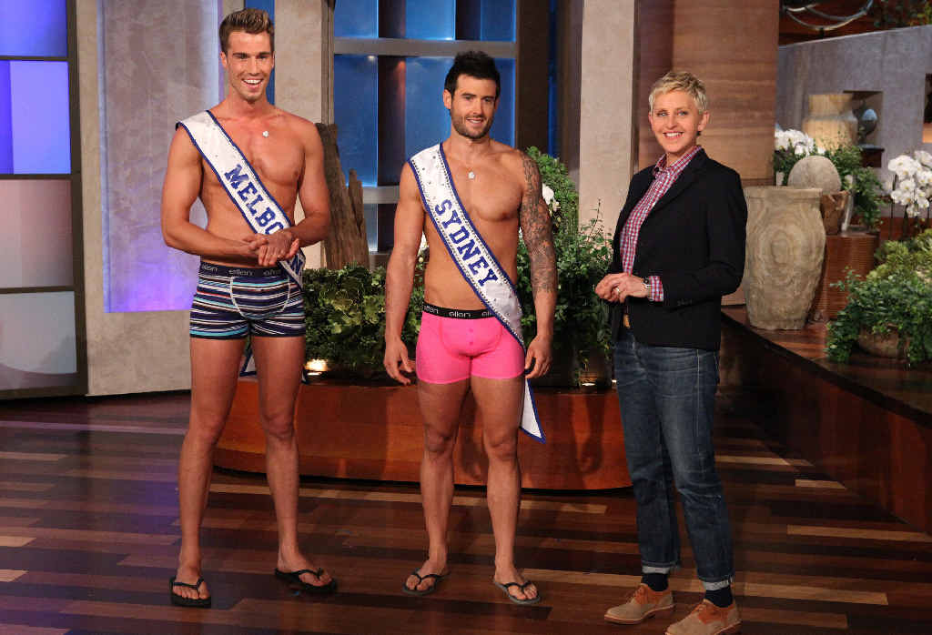 Former Warwick lad Matt Chapman (middle) rocked a pair of pink jocks on the Ellen DeGeneres Show in LA, in a quest to find Mr Australia.