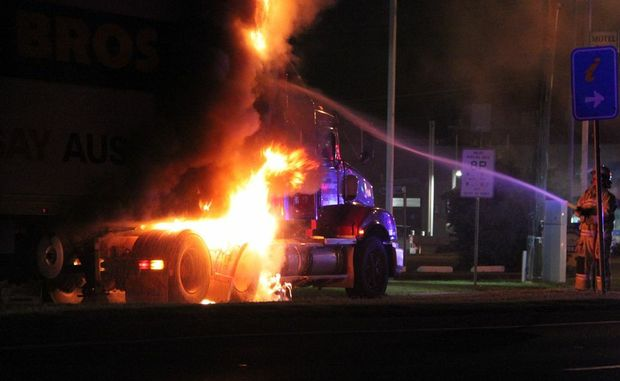 Drayton St was closed while emergency services attended to a truck fire on Tuesday night.