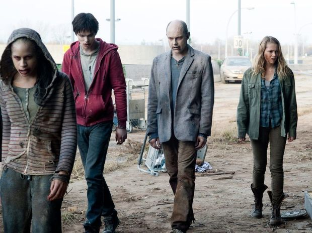 From left, Nicholas Hoult, Rob Corddry and Teresa Palmer in a scene from the movie Warm Bodies.
