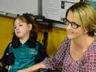 Renai Benham, nine-year-old Rockhampton girl with cerebral palsy and her mum Tracey Benham at Rockhampton Hospital. Photo Sharyn O'Neill / The Morning Bulletin