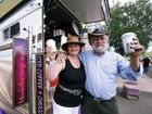 Janet and Tony Daly at their unique coffee stand converted from a horse float at the Ulysses AGM.