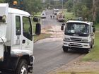 QUU staff and vehicles on site of the burst water main at Bellbird Park.
