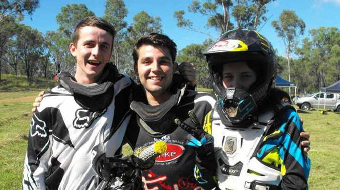Lachlan Simpson, Shane Hawton and Emma Jeremy gearing up for the long day of riding.