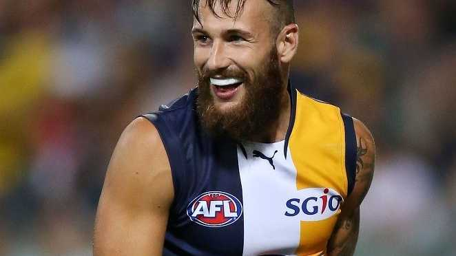 Chris Masten of the West Coast Eagles celebrates a goal during the round one NAB Cup match between the West Coast Eagles and the Fremantle Dockers at Patersons Stadium on February 16, 2013 in Perth, Australia.