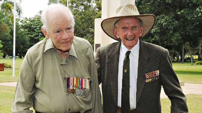 Rats of Tobruk Allan Skerman and Henry Tranter remember their comrades at yesterday's commemoration ceremony.