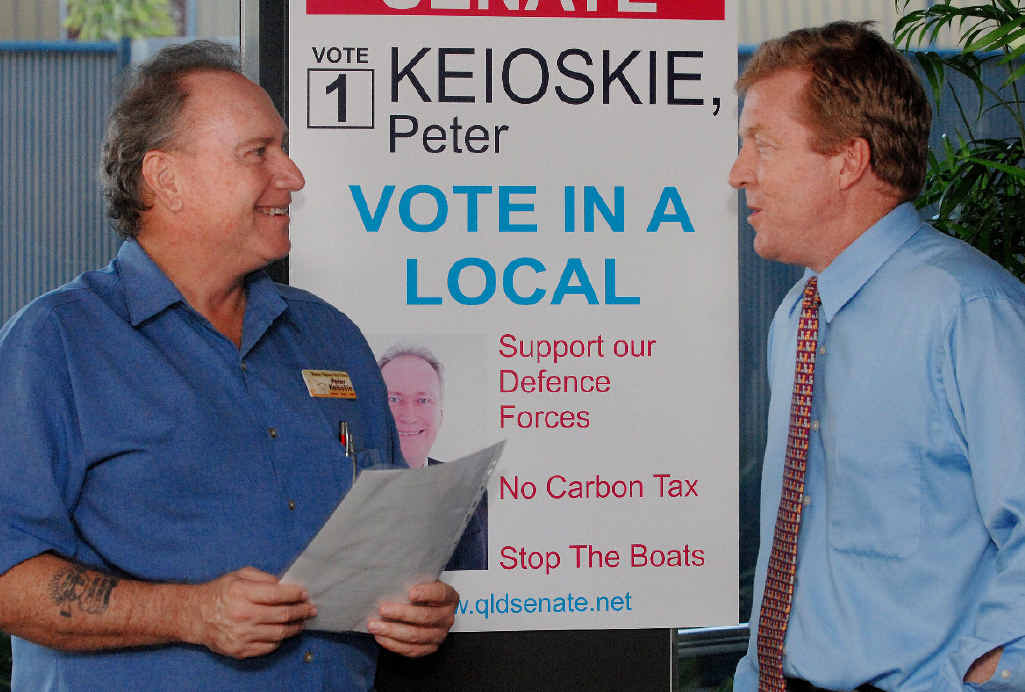 SEEKING VOTES: Business owner Peter Keioskie and solicitor Roland Taylor have launched their campaign to run for the Senate.