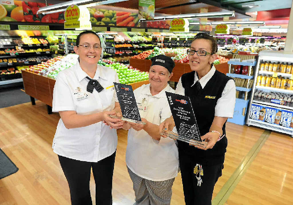 WINNERS: (from left) Karyn Tutton, checkout supervisor, Syvia Perger, bakery manager and Hellena Lowe, duty manager of Sun Valley Supa IGA, are pleased with their results at the IGA Awards.