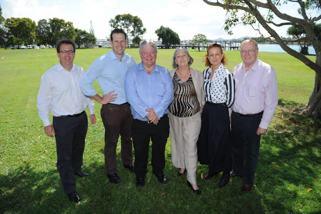 Visiting Gladstone are LNP Senate team members (from left) James McGrath, Matthew Canavan, Federal Member for Flynn Ken O'Dowd, Sue Boyce, Theresa Craig and Ian Macdonald.