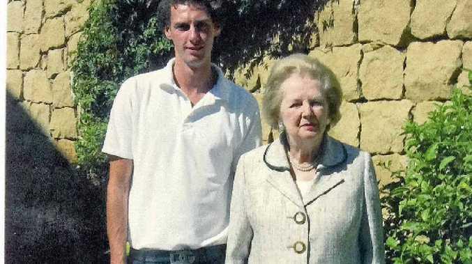IRON CHEF: Aaron Teece with 'Lady T' Margaret Thatcher.