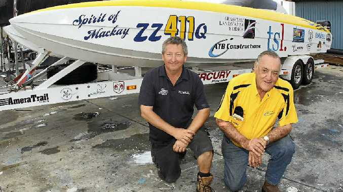 FASTER: Scott Gehrman and manager Ken Rowell with their new boat Spirit of Mackay, which has been funded by local businesses after their other boat BBC Digital was written off in a crash last year.
