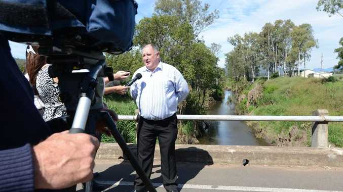 Lockyer Valley mayor Steve Jones speaking to media about plans to reduce Lockyer Valley flood problems.