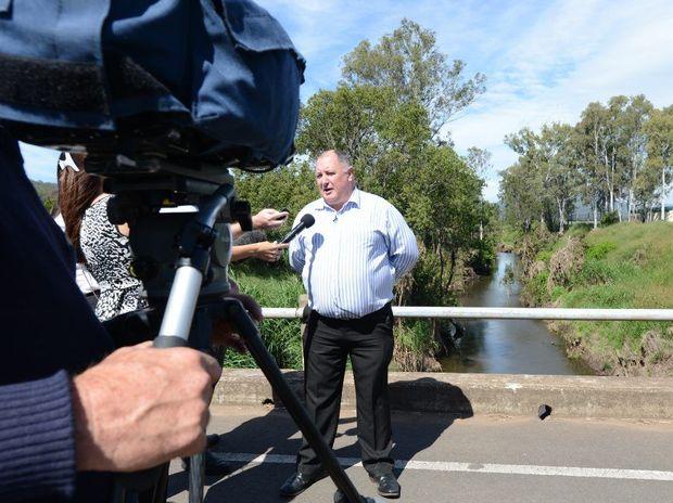 Lockyer Valley mayor Steve Jones speaking to media about plans to reduce Lockyer Valley flood problems.