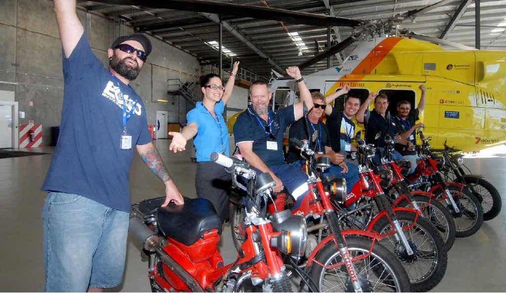 Louise Clare from CQ Rescue with Trent Scott, Greg Becke, Fats Bilal, Drew Thompson, Phil Grifo and Wayne Stockill hope to raise $25,000 riding from Brisbane to Cairns.