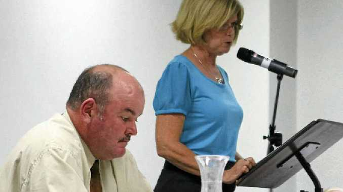 BLAME GAME: The former mayor Mike Brunker and councillor Jennifer Whitney, now mayor, in the lead-up to last year's council elections.