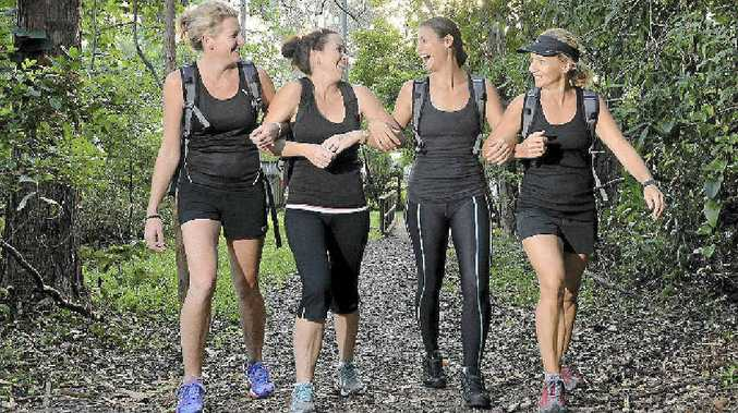 Walking mums (from left) Kylie Postan, Renai McLean, Kari Bourne and Louise Ford are getting ready for the 100km Oxfam Trailwalker.