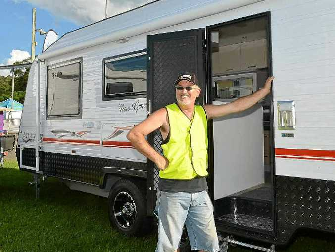 Billy Parsons from Hinterland Caravans sets up for the South Queensland Caravan, Camping, Boating and Fishing Expo at Nambour Showground.